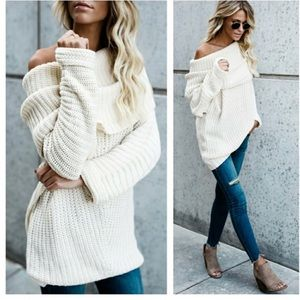 NWT Chunky cowl neck fold over sweater